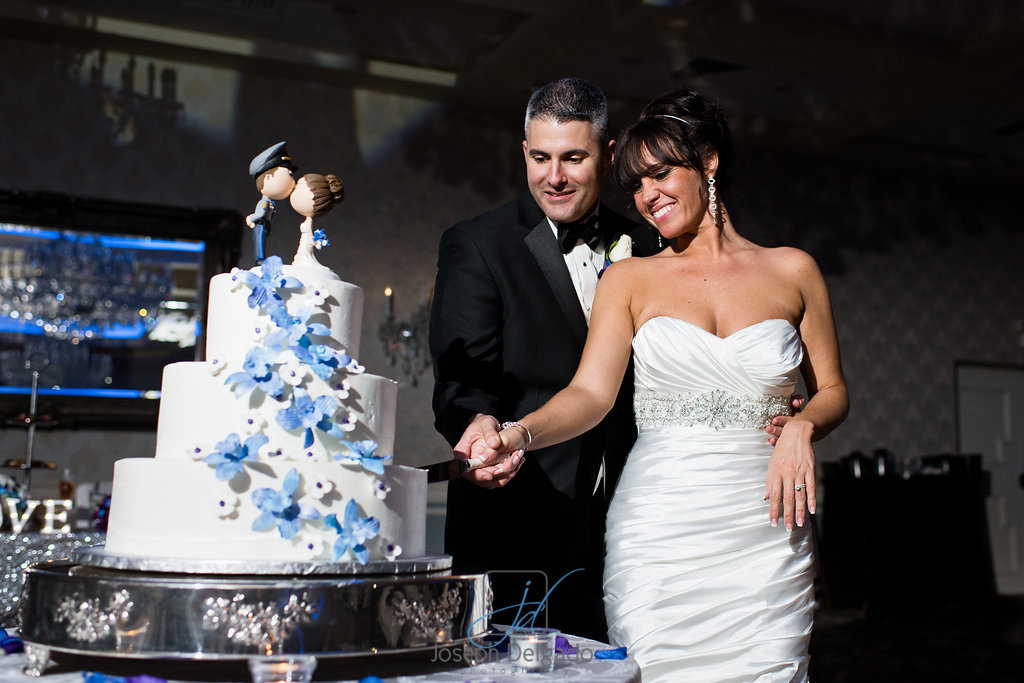 Crystal Ballroom Wedding Cake with Bride and Groom in Freehold NJ