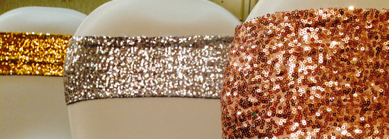 Glitter chair wraps for weddings