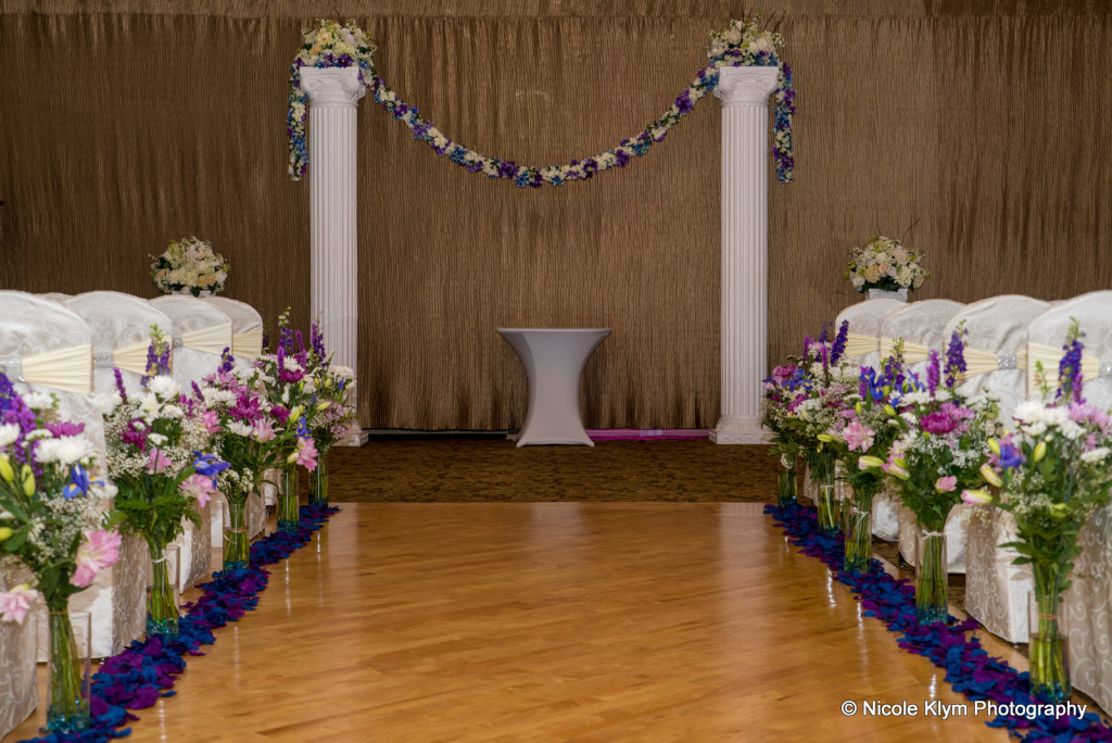 Floral Indoor Ceremony at the Crystal Ballroom at the Radisson Freehold NJ