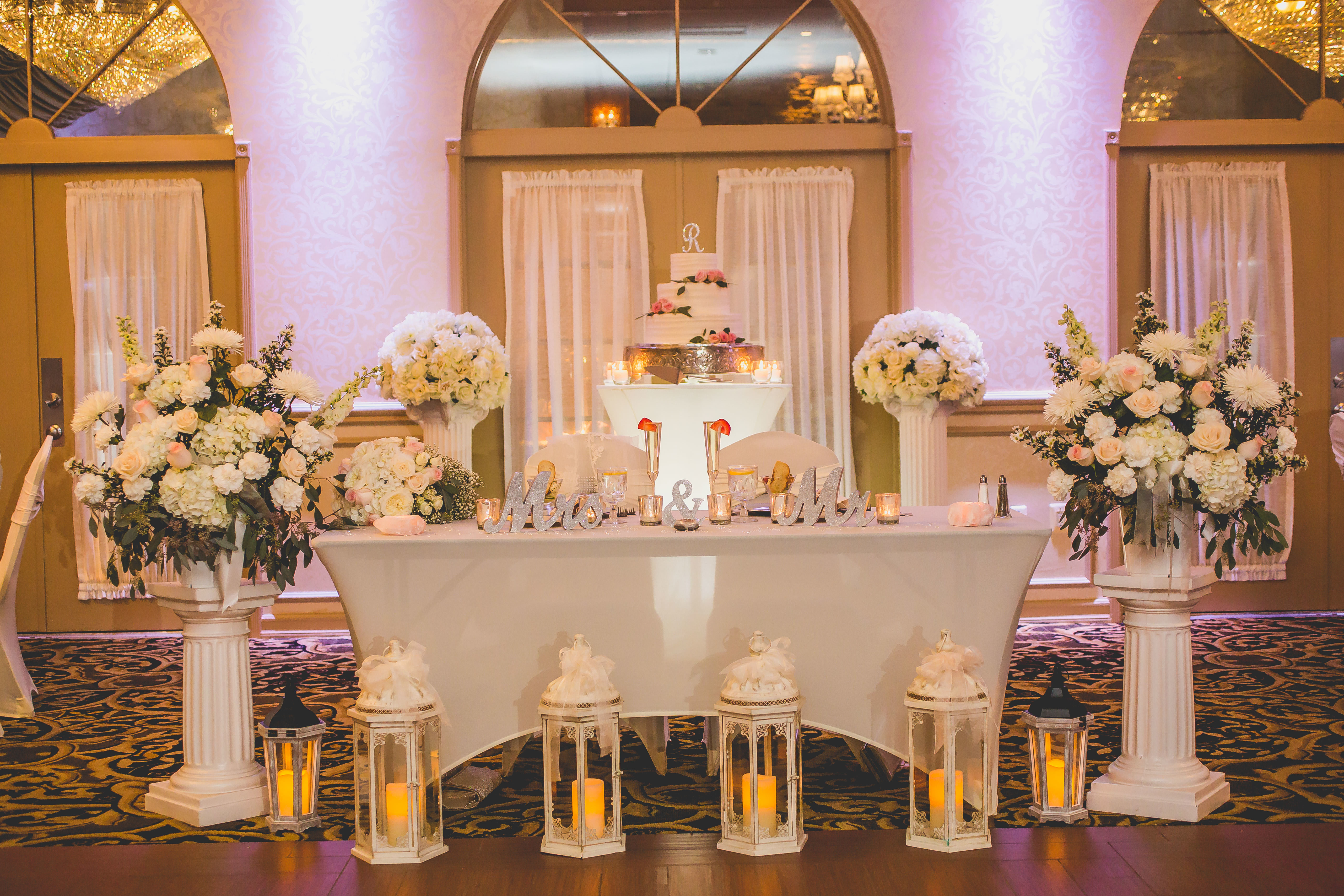 Nice Ideas for the Bride & Groom Reception Table | Crystal Ballroom,  Freehold NJ