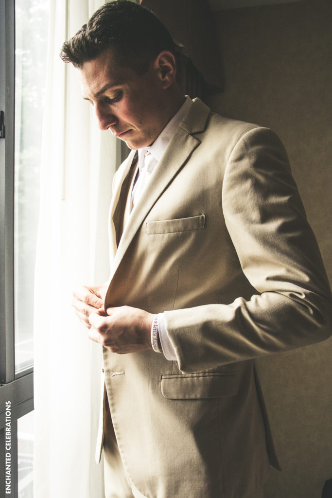 Tan groomsmen suit
