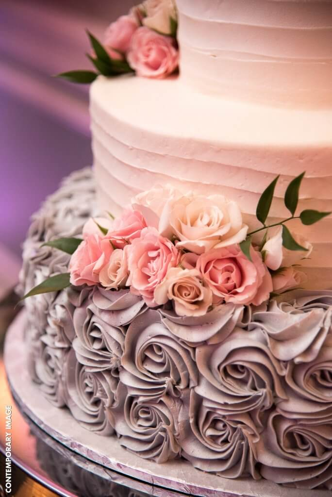 Elaborate floral wedding cake design