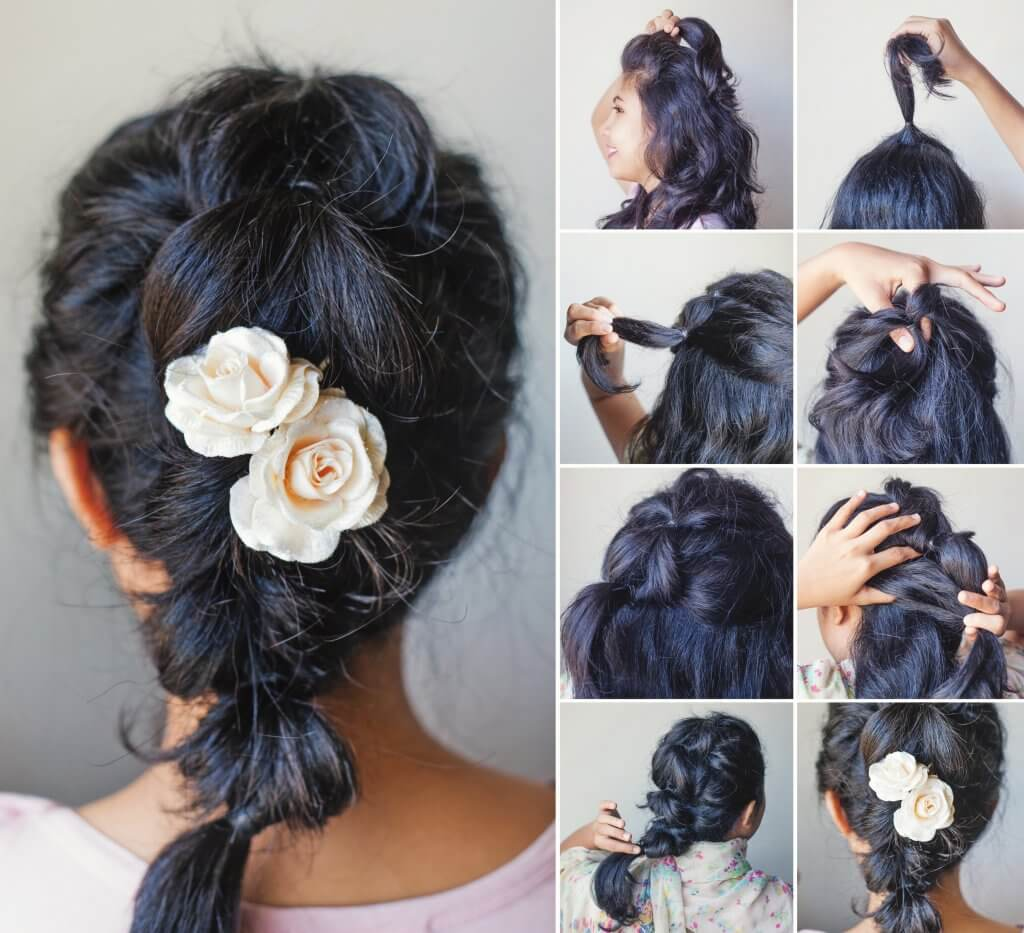 Natural wedding hairstyle messy ponytail